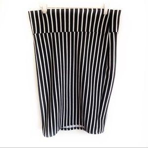 LulaRoe Black and White Stripe Pencil Skirt Large